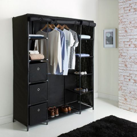 Large Black Canvas Wardrobe, Drawers & Shelves Unit